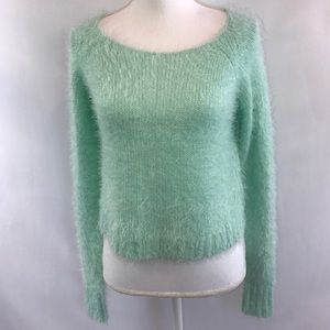 Decree Mint Green Cropped Mohair Sweater